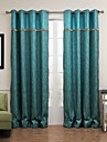 Room Darkening Peacock Blue Modern Jacquard Curtain(Two Panels)