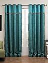 Deux Panneaux Le traitement de fenetre Moderne , Rayure Salle de sejour Melange Poly/Coton Materiel Rideaux TenturesDecoration