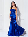 TS Couture Formal Evening / Military Ball Dress - Ocean Blue Plus Sizes / Petite Trumpet/Mermaid Strapless Floor-length Stretch Satin / Lace