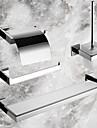 4-delat bad samling set, samtida spegel polerad rostfritt stålmaterial, badrum tillbehör set