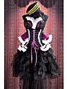 Inspire par Macross Frontier Sheryl Nome Anime Costumes de cosplay Costumes Cosplay Mosaique Noir / Violet Sans ManchesRobe / Chapeau /