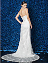 Lan Ting Sheath/Column Wedding Dress - Ivory Court Train Halter Lace
