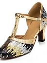 Customizable Women\'s Dance Shoes Modern Paillette Customized Heel Blue/Gold