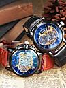 Bărbați Ceas de Mână ceas mecanic Mecanism automat Gravură scobită Piele Bandă Negru Maro Negru Maro