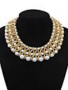 Women\'s Luxurious Layers Weaved Pearls Bib Statement Necklace