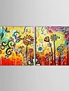 HANDMÅLAD Blommig/Botanisk Två paneler Kanvas Hang målad oljemålning For Hem-dekoration