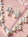 Set bijuterii Pentru femei Nuntă Set Bijuterii Imitație de Perle / Aliaj Ștras Σκουλαρίκια / Coliere Ivoriu