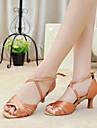 Chaussures de danse (Noir/Autre) - Non personnalisable - Talon aiguille - Satin - Danse latine