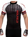 WOLFBIKE Maillot de Cyclisme Homme Manches courtes VeloRespirable Sechage rapide Zip frontal Poche arriere Anti-transpiration Materiaux