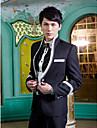 negru solid tuxedo slim fit din poliester