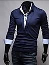 Men\'s Long Sleeve Polo , Cotton Blend/Polyester Casual