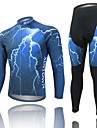 WEST BIKING® Blue Lightning Autumn Full Sleeve Mountain Bike Clothing Suit Bicyle MTB Cycling Pants Jersey Set 2014