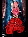 Inspirerad av Vocaloid Megurine Luka Video Spel Cosplay dräkter cosplay Suits Lappverk Röd Ärmlös Klänning / Huvudbonad / Ärmar / Bow