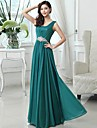 Floor-length Chiffon Bridesmaid Dress - Fuchsia / Royal Blue / Dark Green / Blushing Pink / Ruby / Grape / Sky Blue A-line Scoop
