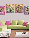 E-HOME® Stretched Canvas Art Abstract Tree Bright Decoration Painting Set of 4