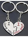 Alloy Silver Plated Kiss Kiss Heart Keychain Key Ring for Lover Valentine\'s Day(One Pair)