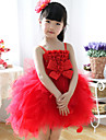 Ball Gown Knee-length Flower Girl Dress - Cotton Sleeveless Straps with Bow(s)