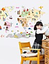 Wall Stickers Wall Decals, Cartoon Children Like World Map PVC Wall Stickers