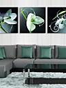 e-home® stretch eșuat panza de artă imprimare floare verde efect flash LED intermitent set optică imprimare fibră de 3