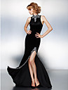 TS Couture® Prom / Formal Evening / Black Tie Gala Dress - Furcal Plus Size / Petite Sheath / Column High Neck Court Train Velvet with Beading /