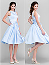 Lanting Knee-length Satin Bridesmaid Dress - Sky Blue Plus Sizes / Petite A-line / Princess Bateau