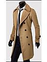 solide cou couleur de revers du manteau de tweed double sein de Roméo hommes