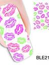 1st färgglada läppar designen vattenstämpel nail art klistermärken ble2123