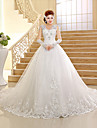 A-line Wedding Dress Vintage Inspired Chapel Train V-neck Lace / Tulle with Beading / Appliques / Sequin
