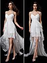 LAN TING BRIDE Linea-A Vestito da sposa Vestitini bianchi Strascico di corte Con bretelline Chiffon Di pizzo con Incrociato