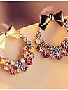 Earring Stud Earrings Jewelry Women Platinum / Alloy / Rhinestone 2pcs Silver