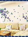 miljö rmovable lila blomma&flygande fågel pvc väggklistermärke