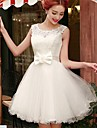 Dress A-line Scoop Short / Mini Lace / Tulle with Bow(s) / Sash / Ribbon