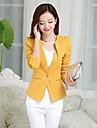 Women\'s All Seasons Blazer,Solid Long Sleeve Pink / White / Black / Yellow Polyester Medium