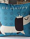 Coton/Lin Housse de coussin , Imprime animal Moderne/Contemporain