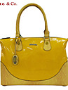 Kate&Co.® Women\'s Yellow Pvc Italian Style Luxury Mirror Surface Handbag