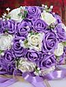 un bouquet de 30 roses pe de simulation de mariage bouquet de mariage mariee tenant des fleurs, violet et blanc