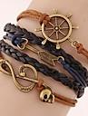 Women\'s Fashion European Style Retro Note Anchor Arrow Multilayer Bracelet