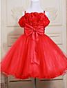 A-line Knee-length Flower Girl Dress - Satin / Tulle Sleeveless Straps with