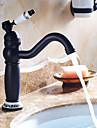 Traditionnel Set de centre Pivotant with  Soupape ceramique Mitigeur un trou for  Bronze huile , Robinet lavabo