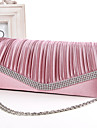 Women Satin Minaudiere Clutch / Evening Bag - White / Pink / Blue / Gold / Black