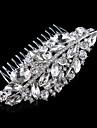 Vintage Wedding Party Bridal Bridesmaid Round Diamond Drop Crystal Leaf Hair Comb For Women