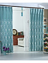 pays curtains® un panneau floral bleu lin / coton broderie rideau