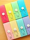 söt leende plastpenna låda med gummiband slumpmässig färg