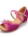 Women\'s/Kids\' Dance Shoes Latin Leatherette/Paillette Flat Heel Pink/Silver/Gold
