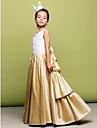 A-Line Princess Floor Length Flower Girl Dress - Taffeta Sleeveless Jewel Neck with Ruching by MYF