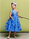Dress A-line / Ball Gown One Shoulder Tea-length Tulle with Flower(s)
