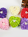 en forme de coeur rose oreiller de boite de bague de perles de fleurs pour le mariage (26 * 26 * 13cm) de mariage de paon