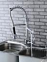 Modern Single Brass Spring Kitchen Faucet - Silver