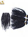 """10 """"-26"""" peruanska jungfru hår kinky lockigt människohår väft med spets stängning färg naturligt svart baby hår"""