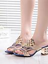 Sandales ( PU , Noir/Bleu ) Gros talon - 3-6cm pour Chaussures femme